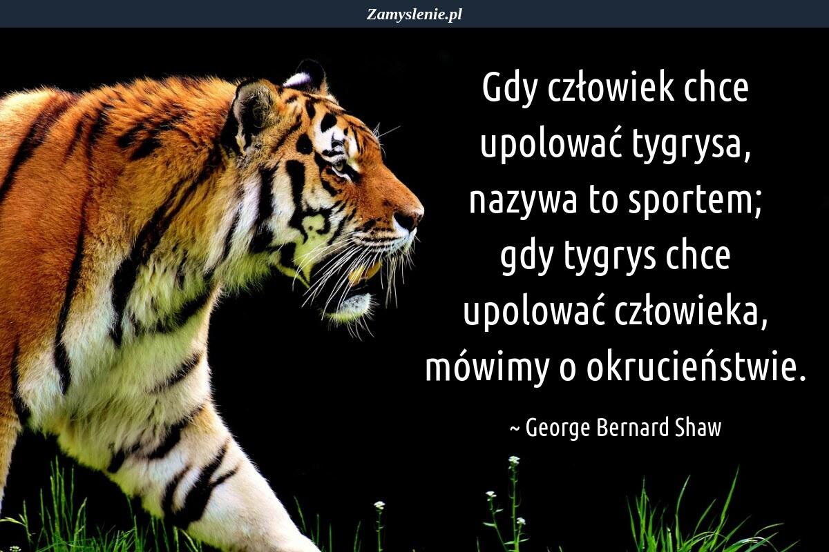 Obraz / mem do cytatu: Gdy człowiek chce upolować tygrysa, nazywa to sportem; gdy tygrys chce upolować człowieka, mówimy o okrucieństwie.