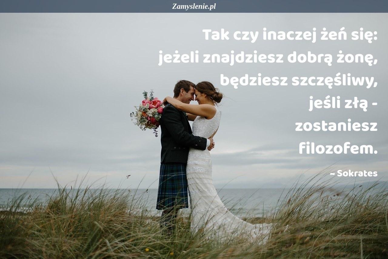 Obraz / mem do cytatu: Tak czy inaczej żeń się: jeżeli znajdziesz dobrą żonę, będziesz szczęśliwy, jeśli złą - zostaniesz filozofem.