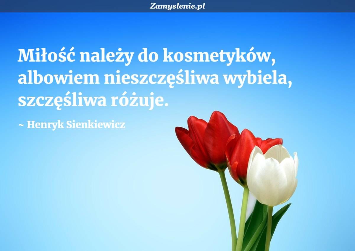 Obraz / mem do cytatu: Miłość należy do kosmetyków, albowiem nieszczęśliwa wybiela, szczęśliwa różuje.
