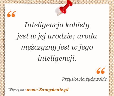 Obraz / mem do cytatu: Inteligencja kobiety jest w jej urodzie; uroda mężczyzny jest w jego inteligencji.