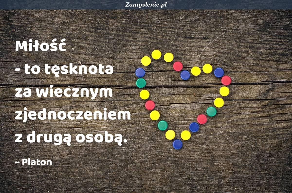Obraz / mem do cytatu: Miłość - to tęsknota za wiecznym zjednoczeniem z drugą osobą.