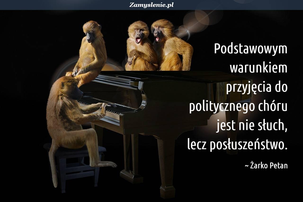 Obraz / mem do cytatu: Podstawowym warunkiem przyjęcia do politycznego chóru jest nie słuch, lecz posłuszeństwo.