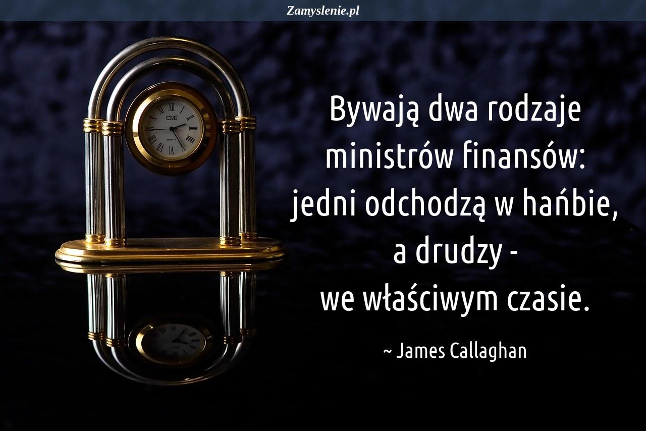 Obraz / mem do cytatu: Bywają dwa rodzaje ministrów finansów: jedni odchodzą w hańbie, a drudzy - we właściwym czasie.
