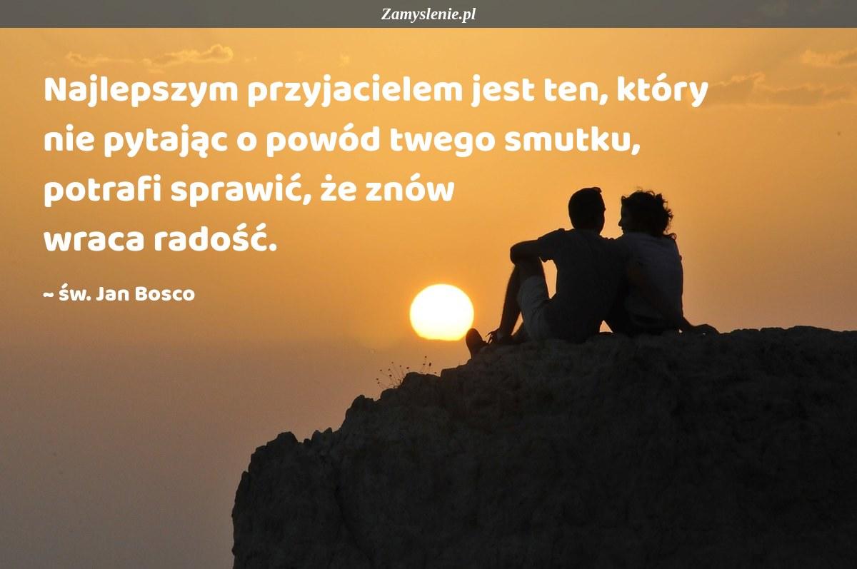 Obraz / mem do cytatu: Najlepszym przyjacielem jest ten, który nie pytając o powód twego smutku, potrafi sprawić, że znów wraca radość.