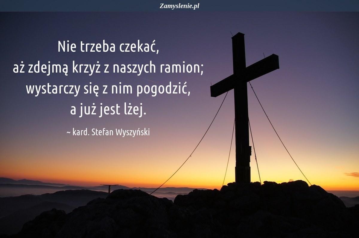Obraz / mem do cytatu: Nie trzeba czekać, aż zdejmą krzyż z naszych ramion; wystarczy się z nim pogodzić, a już jest lżej.