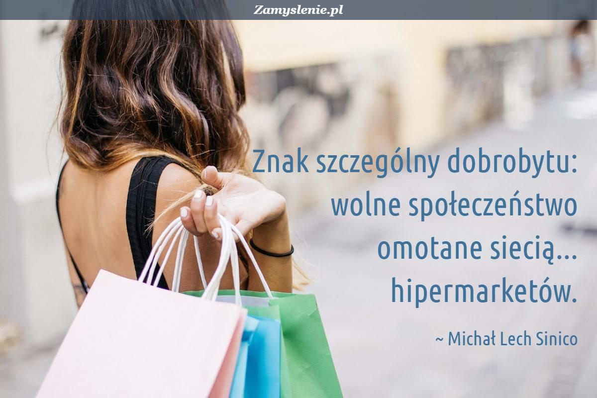 Obraz / mem do cytatu: Znak szczególny dobrobytu: wolne społeczeństwo omotane siecią... hipermarketów.