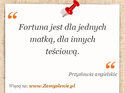 Obraz / mem do cytatu: Fortuna jest dla jednych matką, dla innych teściową.