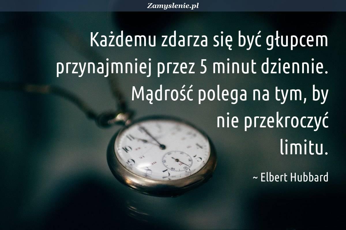 Obraz / mem do cytatu: Każdemu zdarza się być głupcem przynajmniej przez 5 minut dziennie. Mądrość polega na tym, by nie przekroczyć limitu.