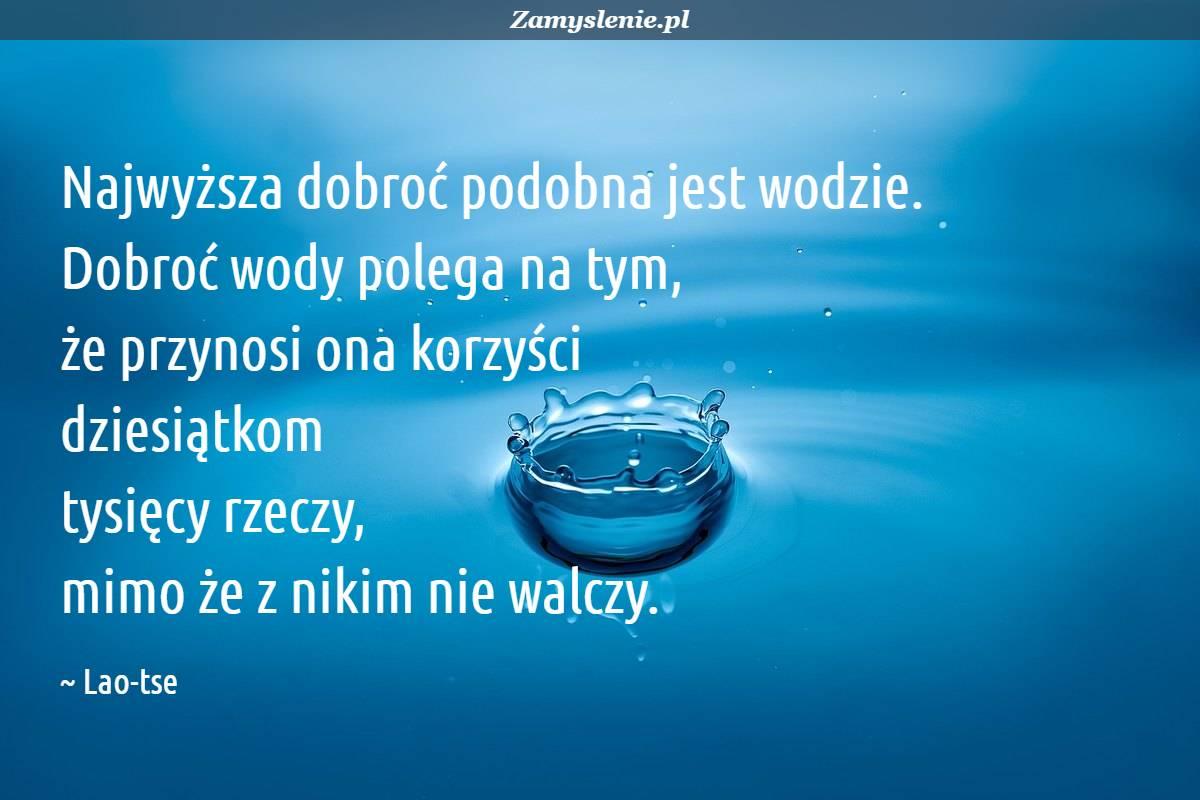 Obraz / mem do cytatu: Najwyższa dobroć podobna jest wodzie. Dobroć wody polega na tym, że przynosi ona korzyści dziesiątkom tysięcy rzeczy, mimo że z nikim nie walczy.