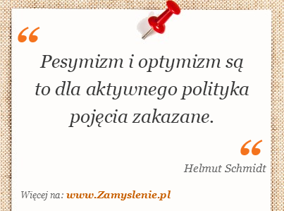 Obraz / mem do cytatu: Pesymizm i optymizm są to dla aktywnego polityka pojęcia zakazane.
