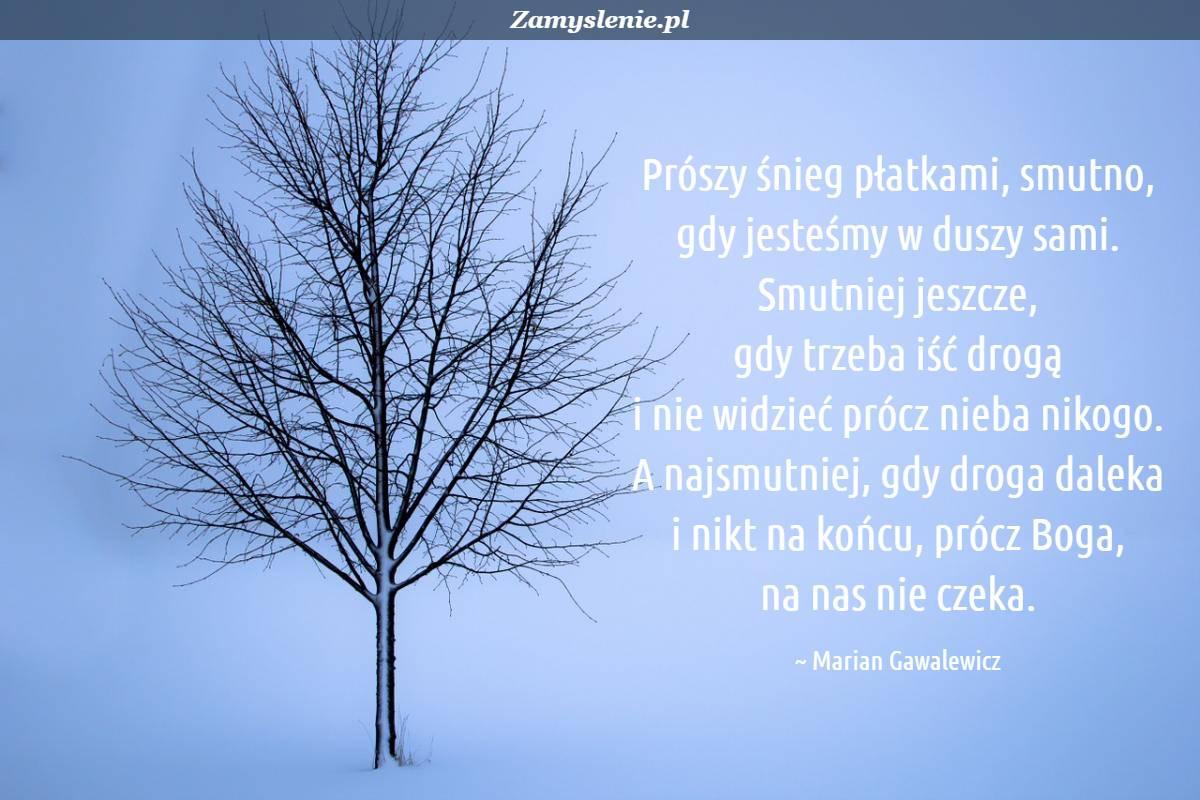 Obraz / mem do cytatu: Prószy śnieg płatkami, <br /> smutno, gdy jesteśmy w duszy sami. <br /> Smutniej jeszcze, gdy trzeba iść drogą <br /> i nie widzieć prócz nieba nikogo. <br /> A najsmutniej, gdy droga daleka <br /> i nikt na końcu, prócz Boga, na nas nie czeka.