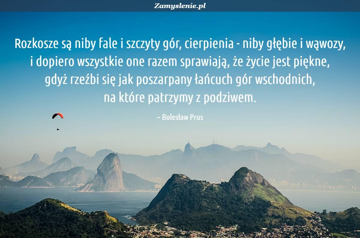 Obraz / mem do cytatu: Rozkosze są niby fale i szczyty gór, cierpienia - niby głębie i wąwozy, i dopiero wszystkie one razem sprawiają, że życie jest piękne, gdyż rzeźbi się jak poszarpany łańcuch gór wschodnich, na które patrzymy z podziwem.