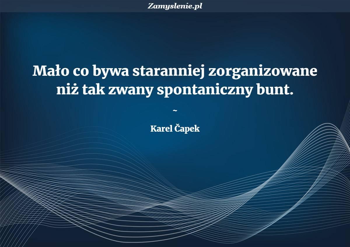 Obraz / mem do cytatu: Mało co bywa staranniej zorganizowane niż tak zwany spontaniczny bunt.