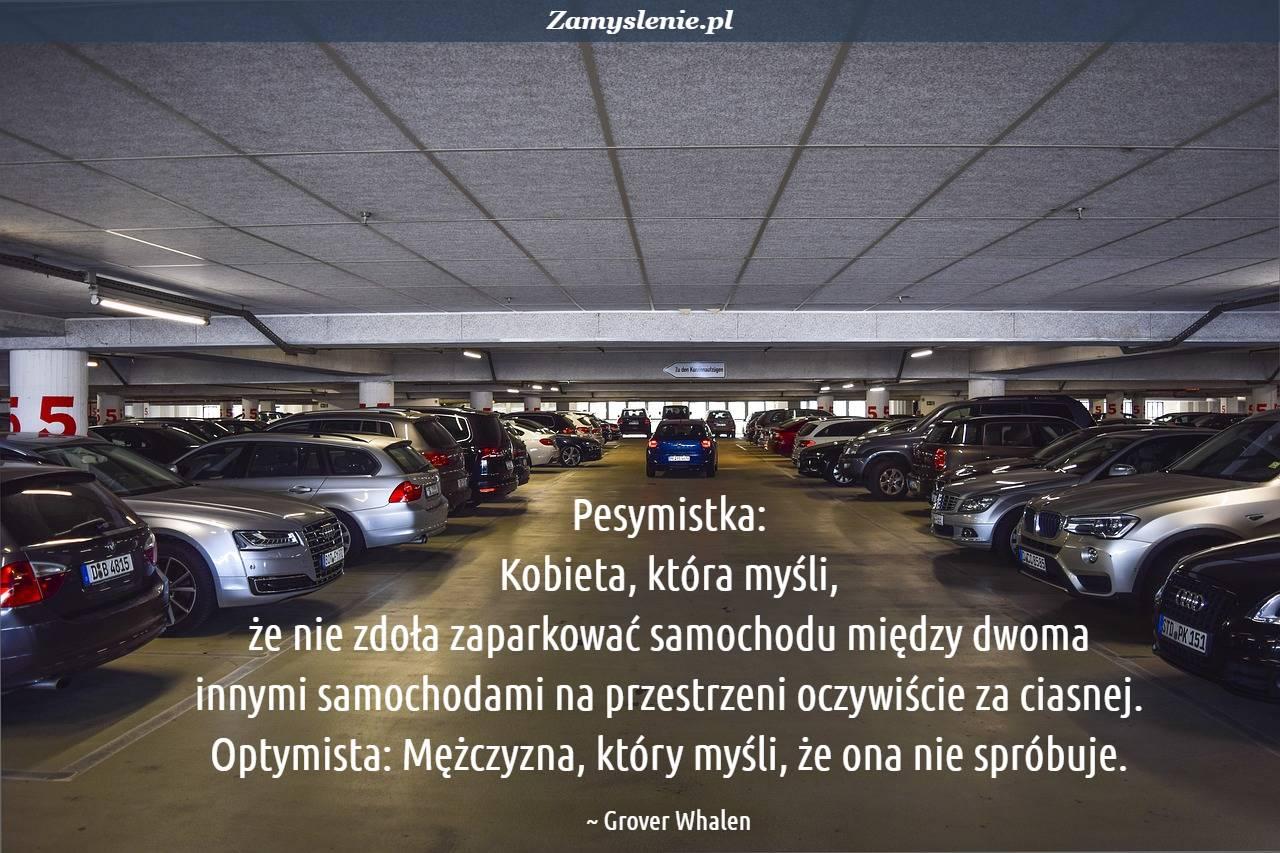 Obraz / mem do cytatu: Pesymistka: Kobieta, która myśli, że nie zdoła zaparkować samochodu między dwoma innymi samochodami na przestrzeni oczywiście za ciasnej. Optymista: Mężczyzna, który myśli, że ona nie spróbuje.
