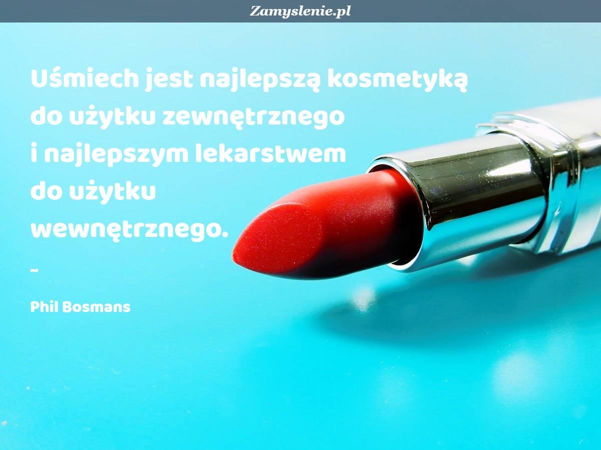 Obraz / mem do cytatu: Uśmiech jest najlepszą kosmetyką do użytku zewnętrznego i najlepszym lekarstwem do użytku wewnętrznego.