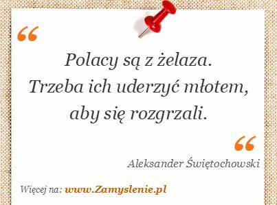 Obraz / mem do cytatu: Polacy są z żelaza. Trzeba ich uderzyć młotem, aby się rozgrzali.