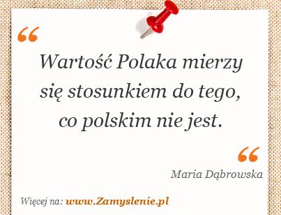 Obraz / mem do cytatu: Wartość Polaka mierzy się stosunkiem do tego, co polskim nie jest.
