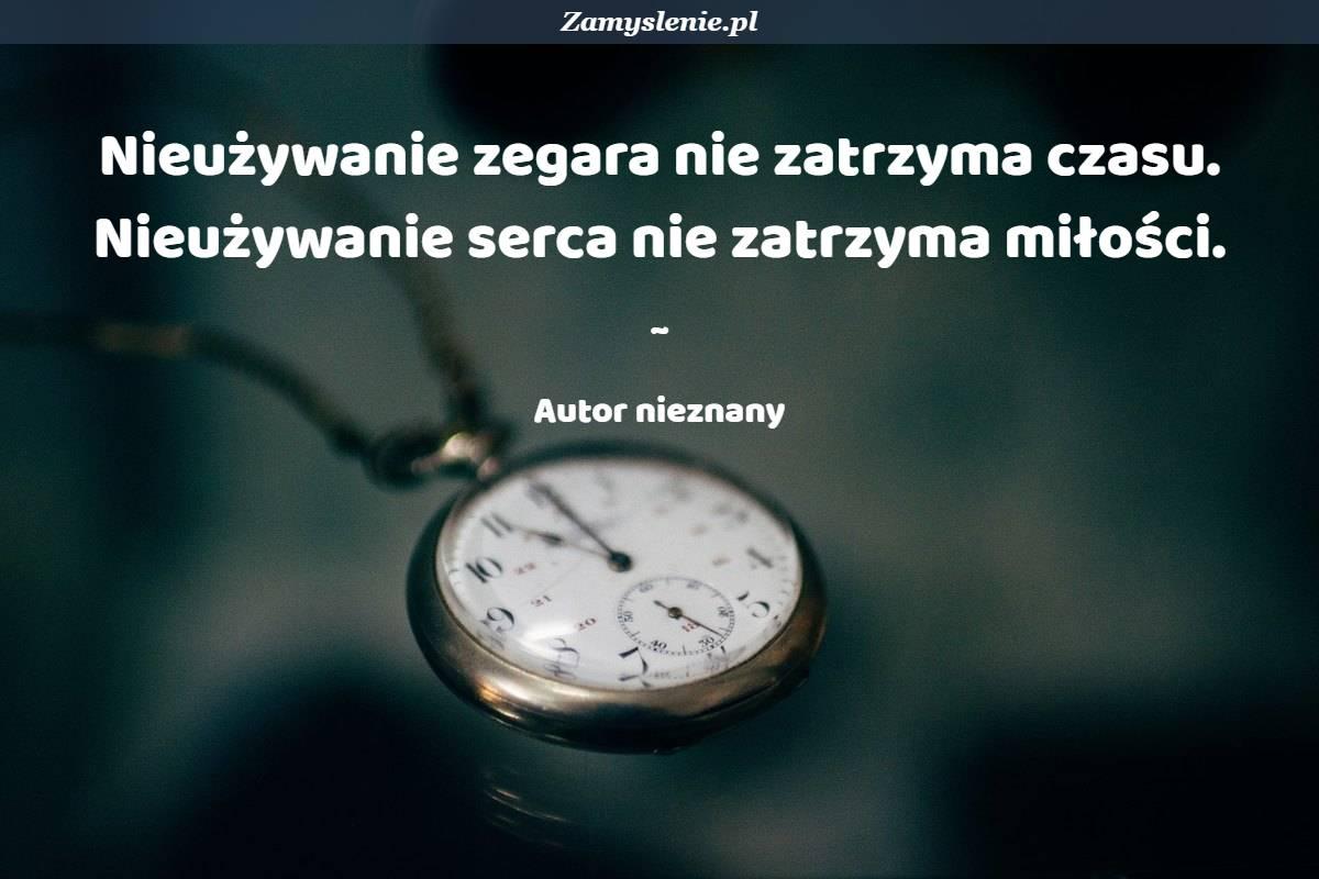 Obraz / mem do cytatu: Nieużywanie zegara nie zatrzyma czasu. Nieużywanie serca nie zatrzyma miłości.