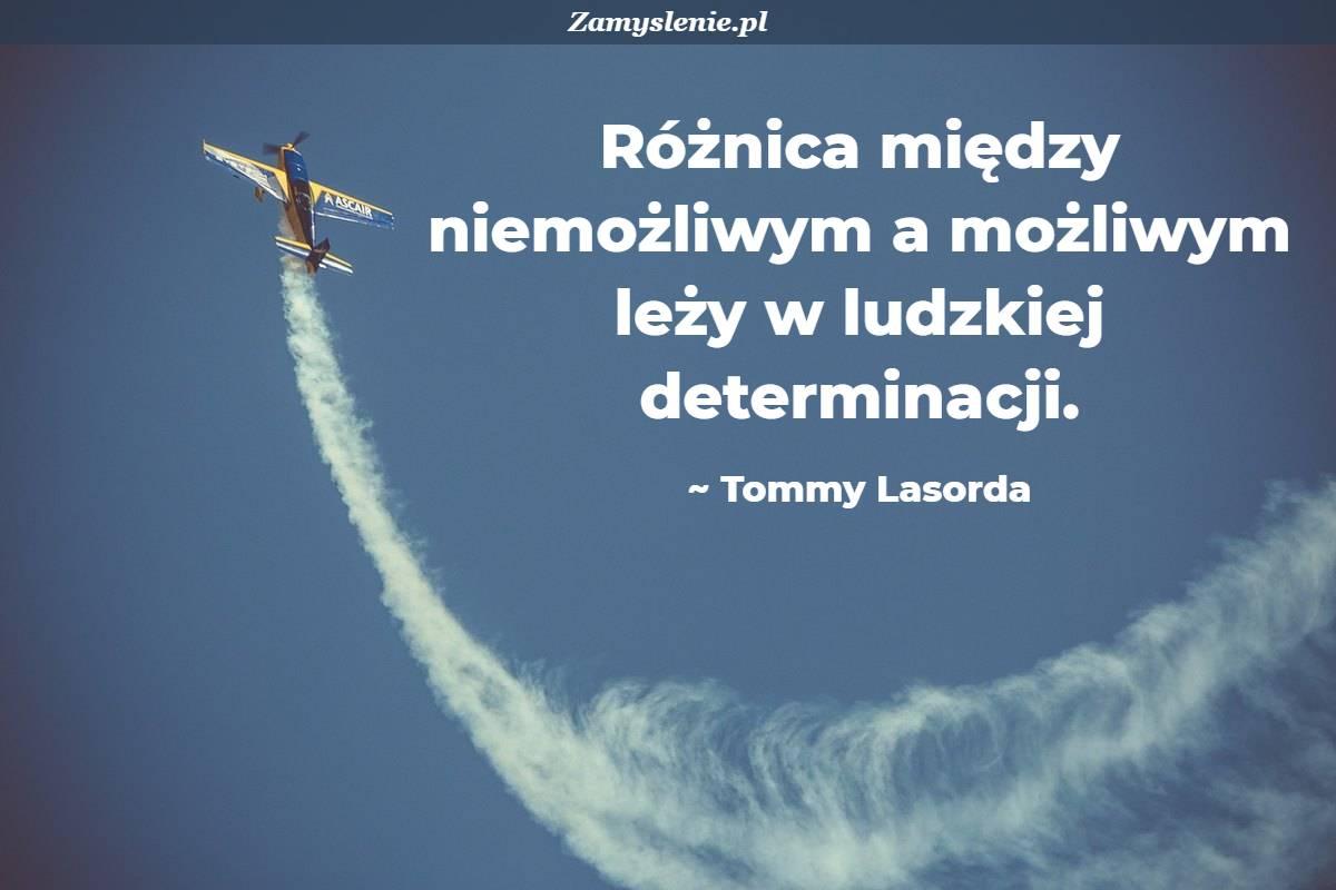 Obraz / mem do cytatu: Różnica między niemożliwym a możliwym leży w ludzkiej determinacji.