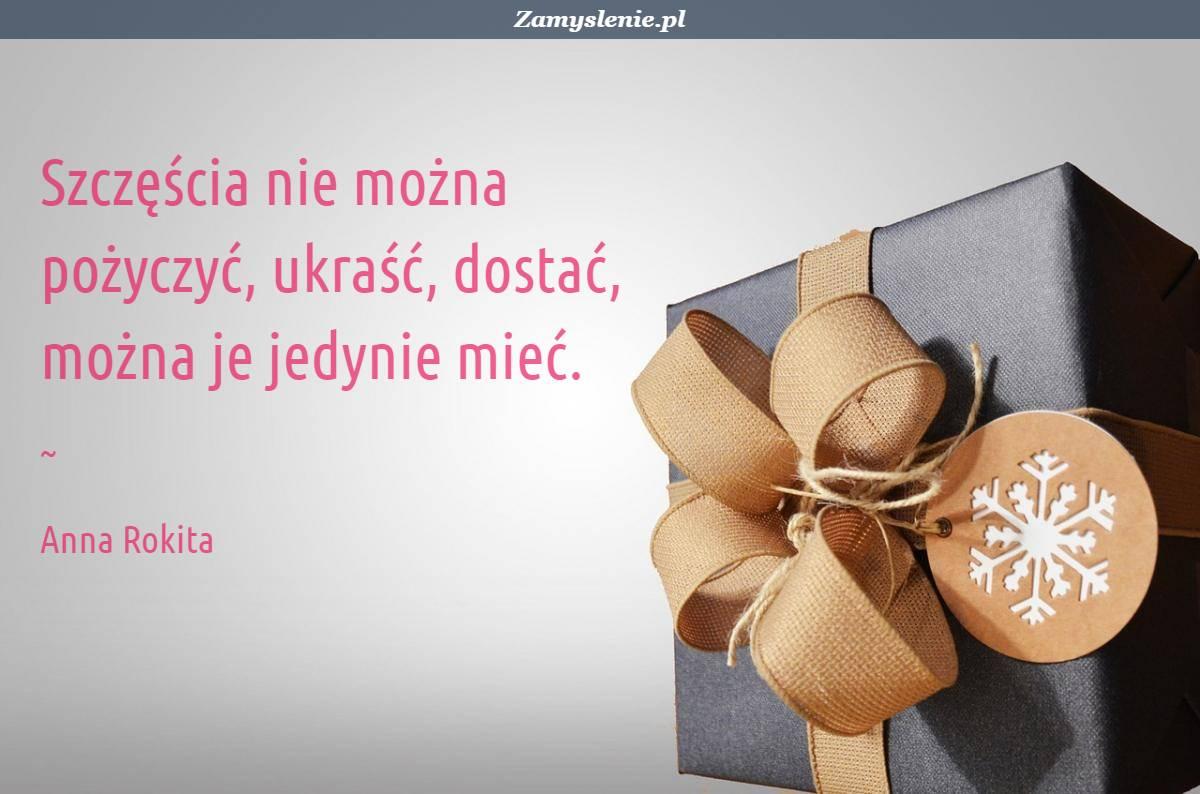Obraz / mem do cytatu: Szczęścia nie można pożyczyć, ukraść, dostać, można je jedynie mieć.