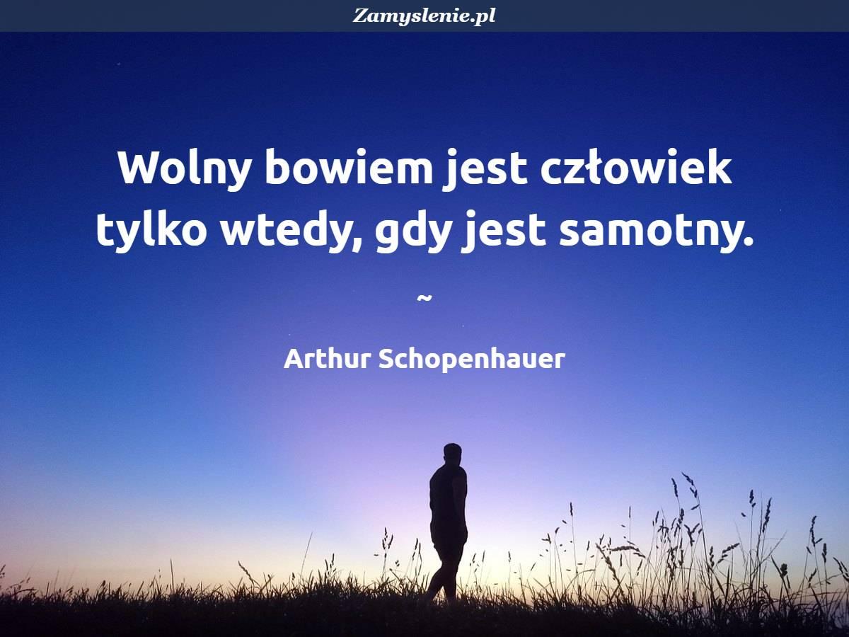 Obraz / mem do cytatu: Wolny bowiem jest człowiek tylko wtedy, gdy jest samotny.