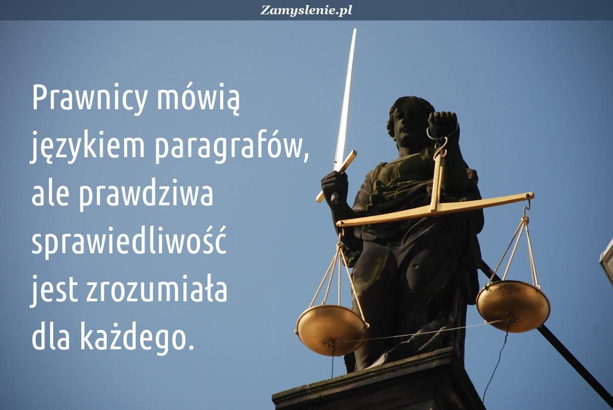 Obraz / mem do cytatu: Prawnicy mówią językiem paragrafów, ale prawdziwa sprawiedliwość jest zrozumiała dla każdego.