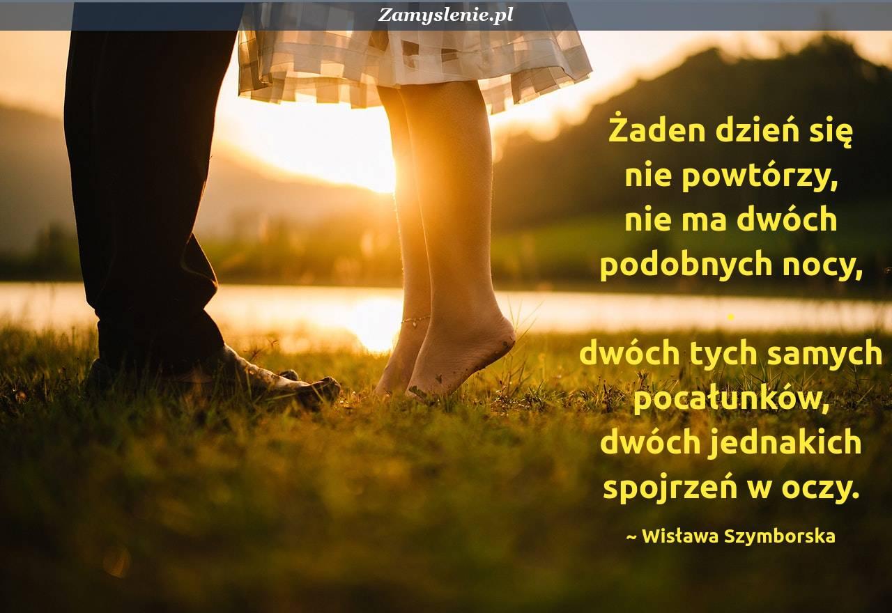 Obraz / mem do cytatu: Żaden dzień się nie powtórzy, <br /> nie ma dwóch podobnych nocy, <br /> dwóch tych samych pocałunków, <br /> dwóch jednakich spojrzeń w oczy.