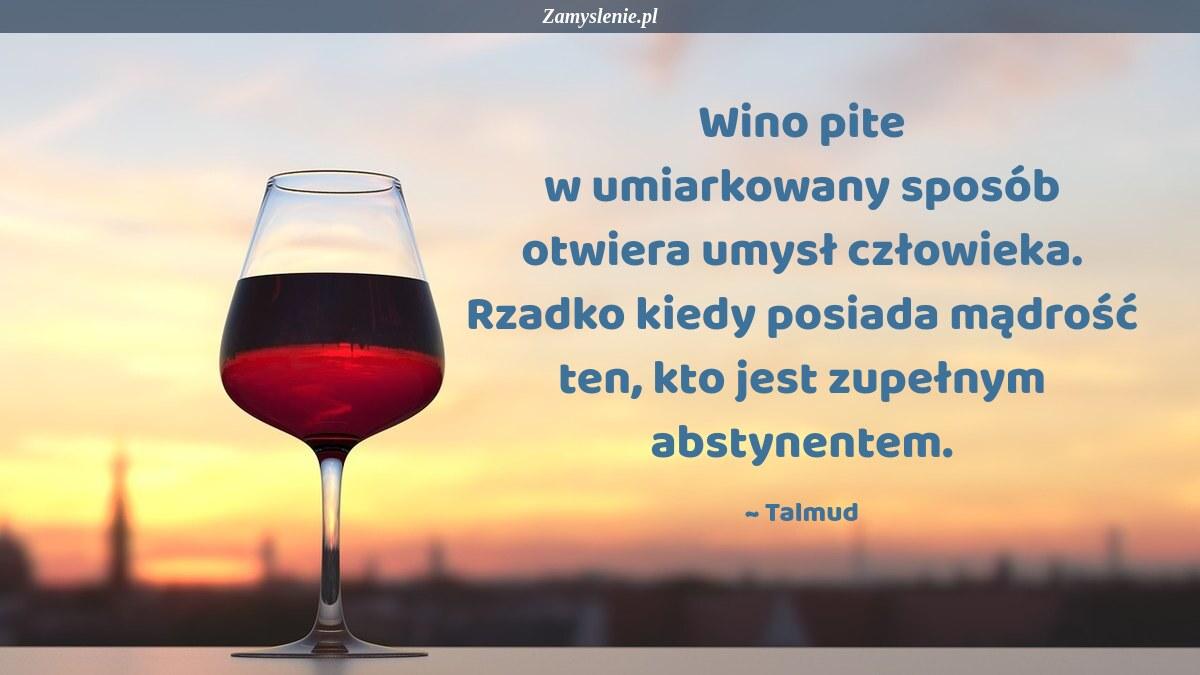 Obraz / mem do cytatu: Wino pite w umiarkowany sposób otwiera umysł człowieka. Rzadko kiedy posiada mądrość ten, kto jest zupełnym abstynentem.
