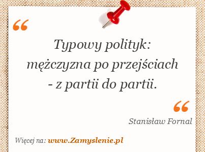 Obraz / mem do cytatu: Typowy polityk: mężczyzna po przejściach - z partii do partii.