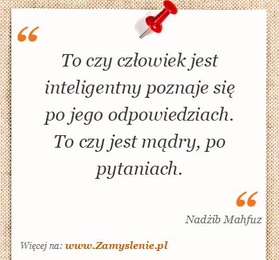 Obraz / mem do cytatu: To czy człowiek jest inteligentny poznaje się po jego odpowiedziach. To czy jest mądry, po pytaniach.