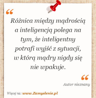 Obraz / mem do cytatu: Różnica między mądrością a inteligencją polega na tym, że inteligentny potrafi wyjść z sytuacji, w którą mądry nigdy się nie wpakuje.