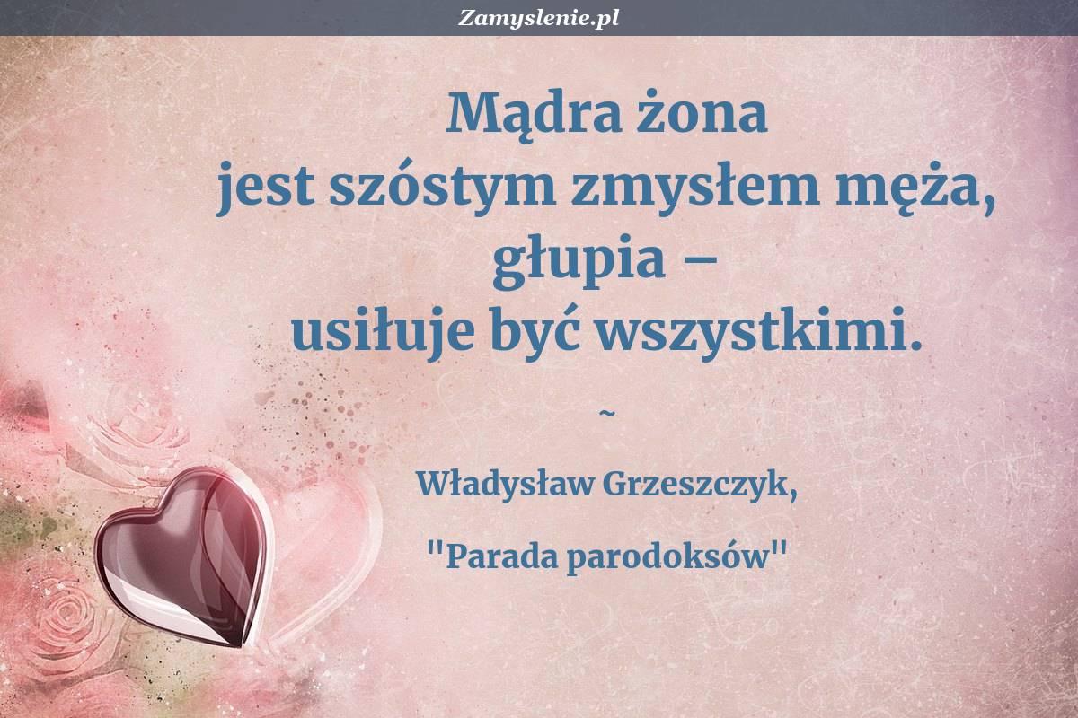Obraz / mem do cytatu: Mądra żona jest szóstym zmysłem męża, głupia – usiłuje być wszystkimi.