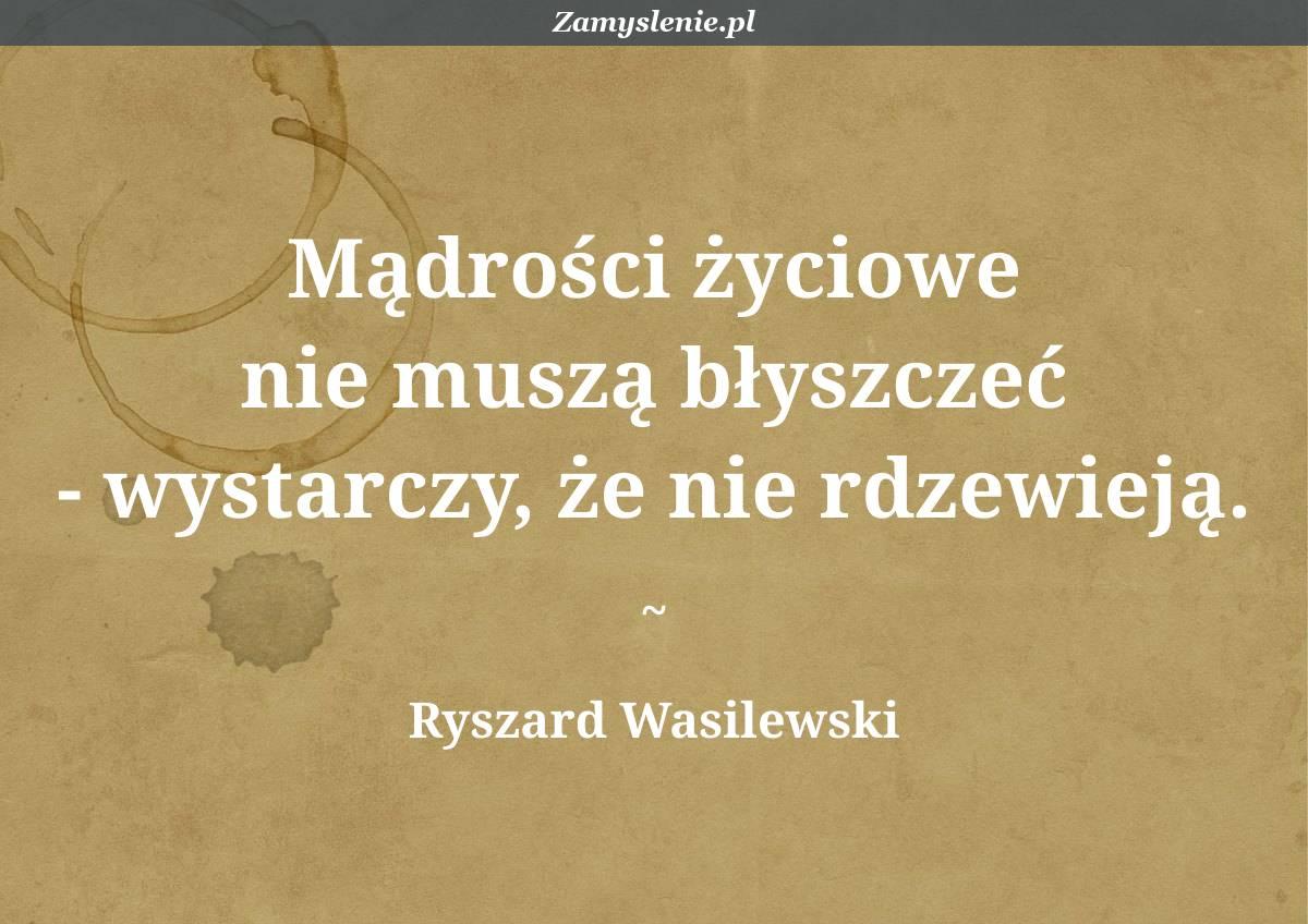 Obraz / mem do cytatu: Mądrości życiowe nie muszą błyszczeć - wystarczy, że nie rdzewieją.