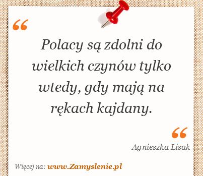 Obraz / mem do cytatu: Polacy są zdolni do wielkich czynów tylko wtedy, gdy mają na rękach kajdany.