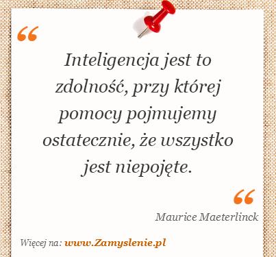 Obraz / mem do cytatu: Inteligencja jest to zdolność, przy której pomocy pojmujemy ostatecznie, że wszystko jest niepojęte.