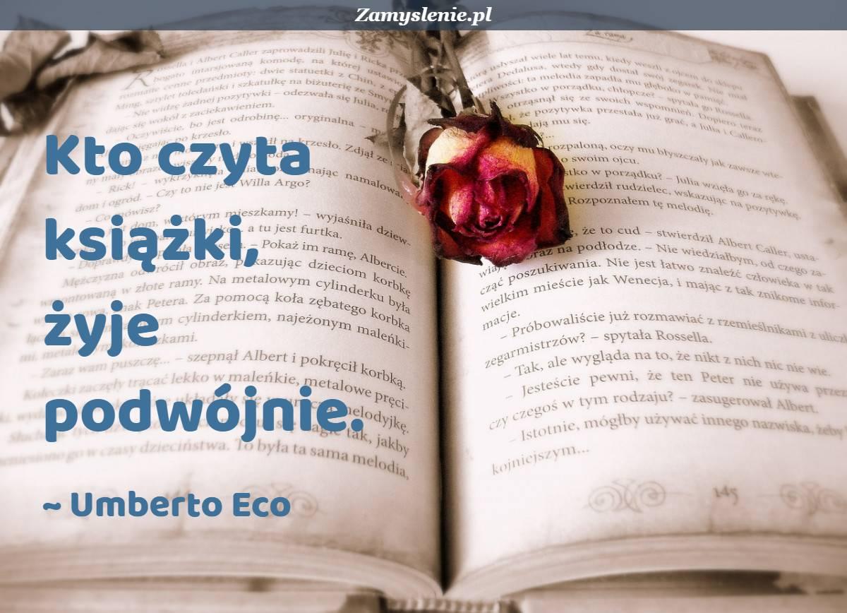 Obraz / mem do cytatu: Kto czyta książki, żyje podwójnie.