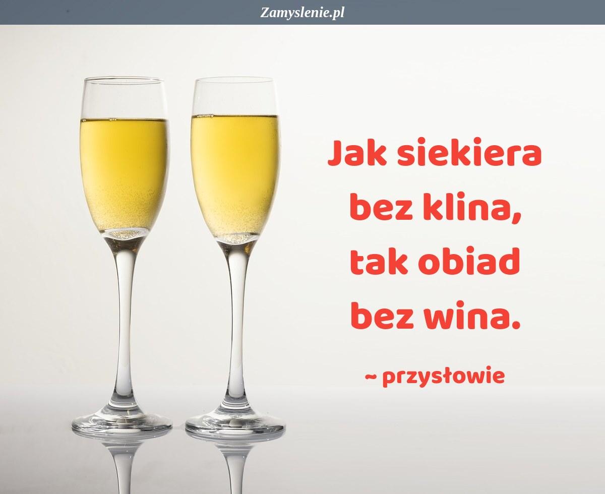 Obraz / mem do cytatu: Jak siekiera bez klina, tak obiad bez wina.