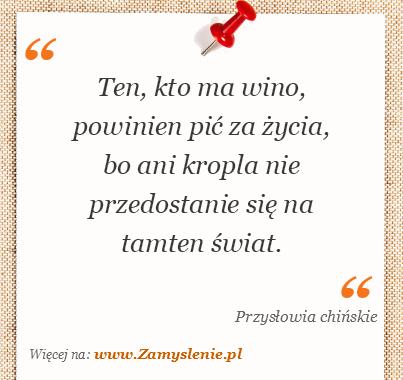 Obraz / mem do cytatu: Ten, kto ma wino, powinien pić za życia, bo ani kropla nie przedostanie się na tamten świat.