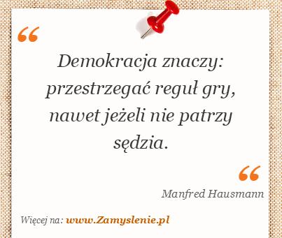 Obraz / mem do cytatu: Demokracja znaczy: przestrzegać reguł gry, nawet jeżeli nie patrzy sędzia.