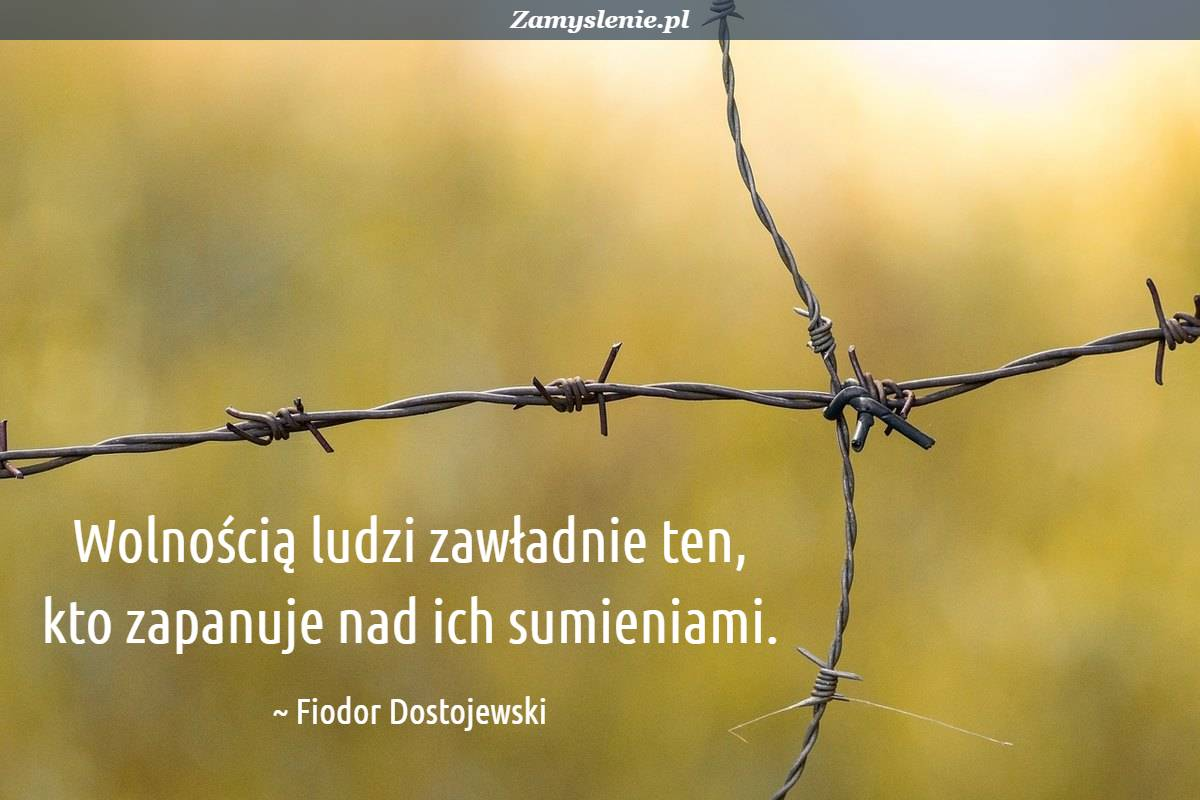 Obraz / mem do cytatu: Wolnością ludzi zawładnie ten, kto zapanuje nad ich sumieniami.