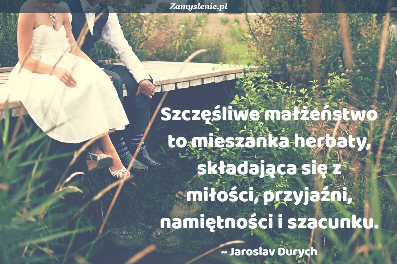 Obraz / mem do cytatu: Szczęśliwe małżeństwo to mieszanka herbaty, składająca się z miłości, przyjaźni, namiętności i szacunku.