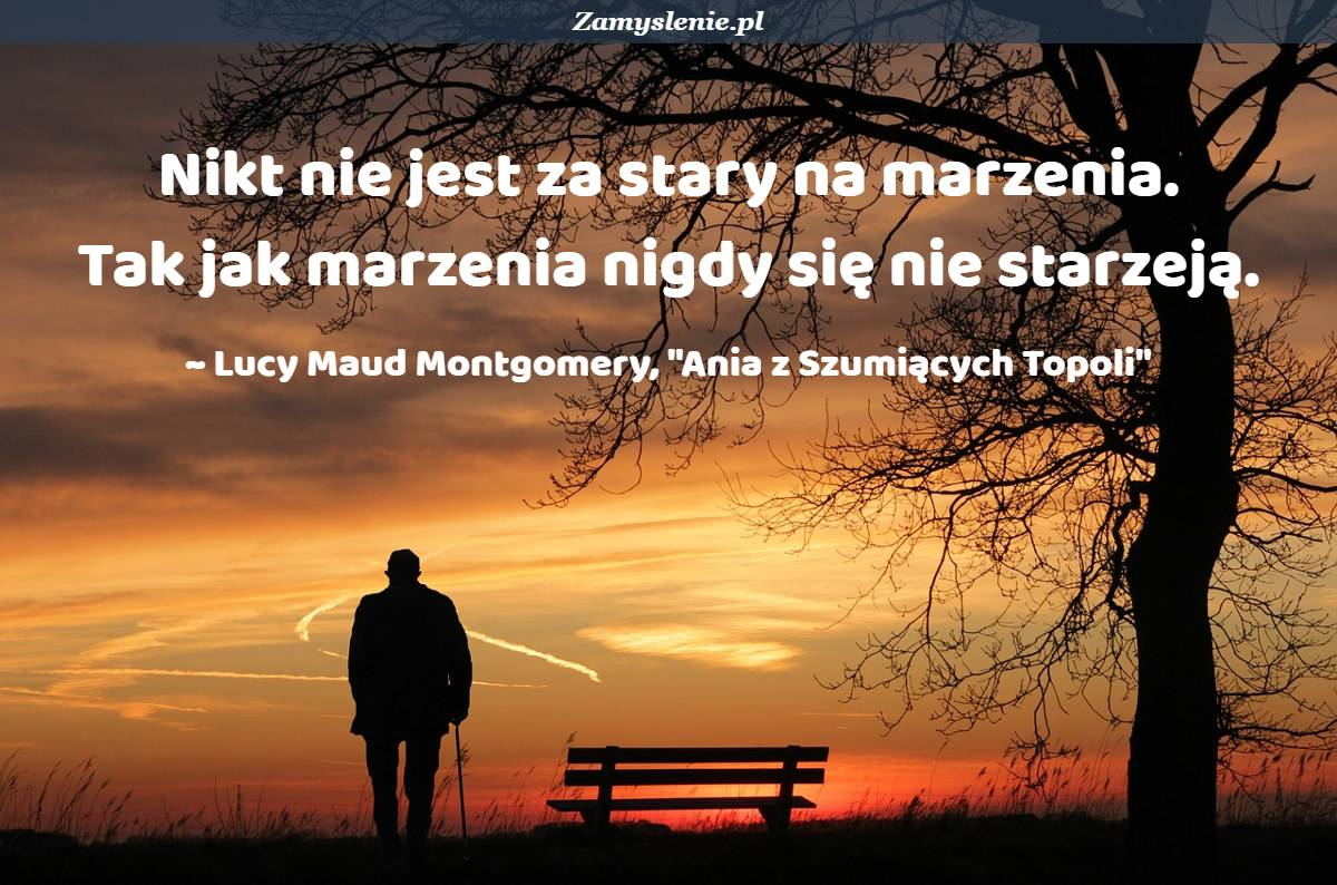 Obraz / mem do cytatu: Nikt nie jest za stary na marzenia. Tak jak marzenia nigdy się nie starzeją.