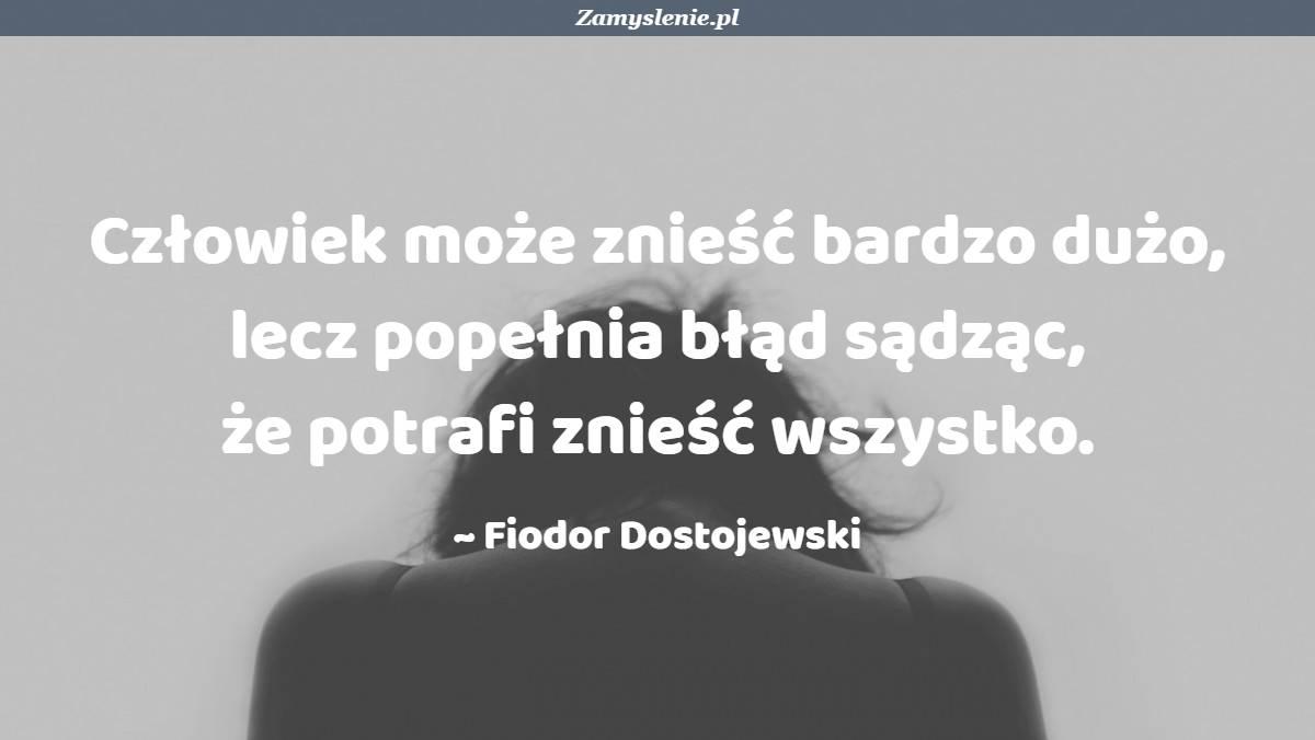 Obraz / mem do cytatu: Człowiek może znieść bardzo dużo, lecz popełnia błąd sądząc, że potrafi znieść wszystko.