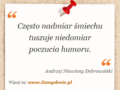 Obraz / mem do cytatu: Często nadmiar śmiechu tuszuje niedomiar poczucia humoru.