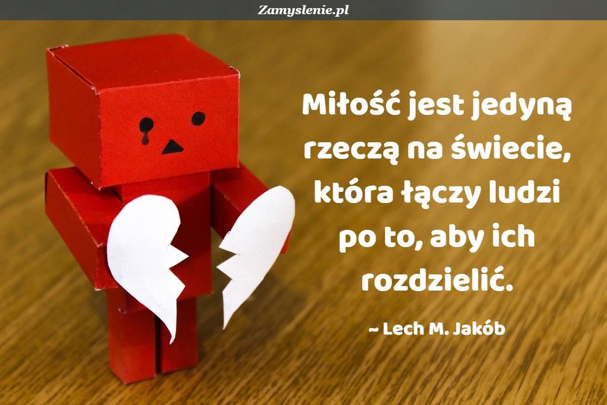 Obraz / mem do cytatu: Miłość jest jedyną rzeczą na świecie, która łączy ludzi po to, aby ich rozdzielić.