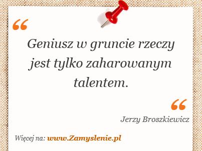 Obraz / mem do cytatu: Geniusz w gruncie rzeczy jest tylko zaharowanym talentem.