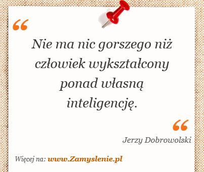 Obraz / mem do cytatu: Nie ma nic gorszego niż człowiek wykształcony ponad własną inteligencję.