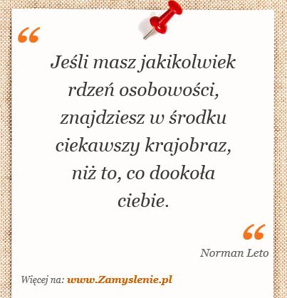 Cytat: Jeśli masz jakikolwiek rdzeń osobowości, znajdziesz w środku ciekawszy krajobraz,... - Zamyslenie.pl