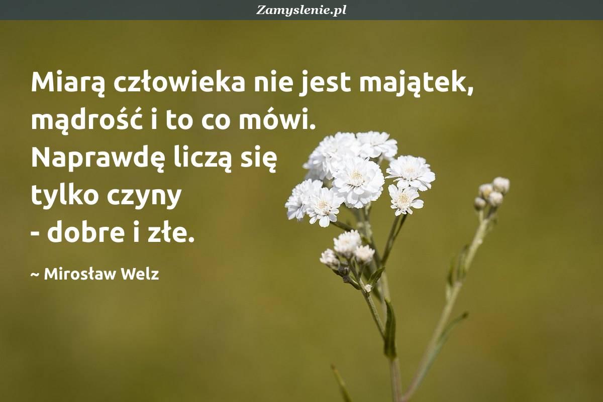 Obraz / mem do cytatu: Miarą człowieka nie jest majątek, mądrość i to co mówi. Naprawdę liczą się tylko czyny - dobre i złe.