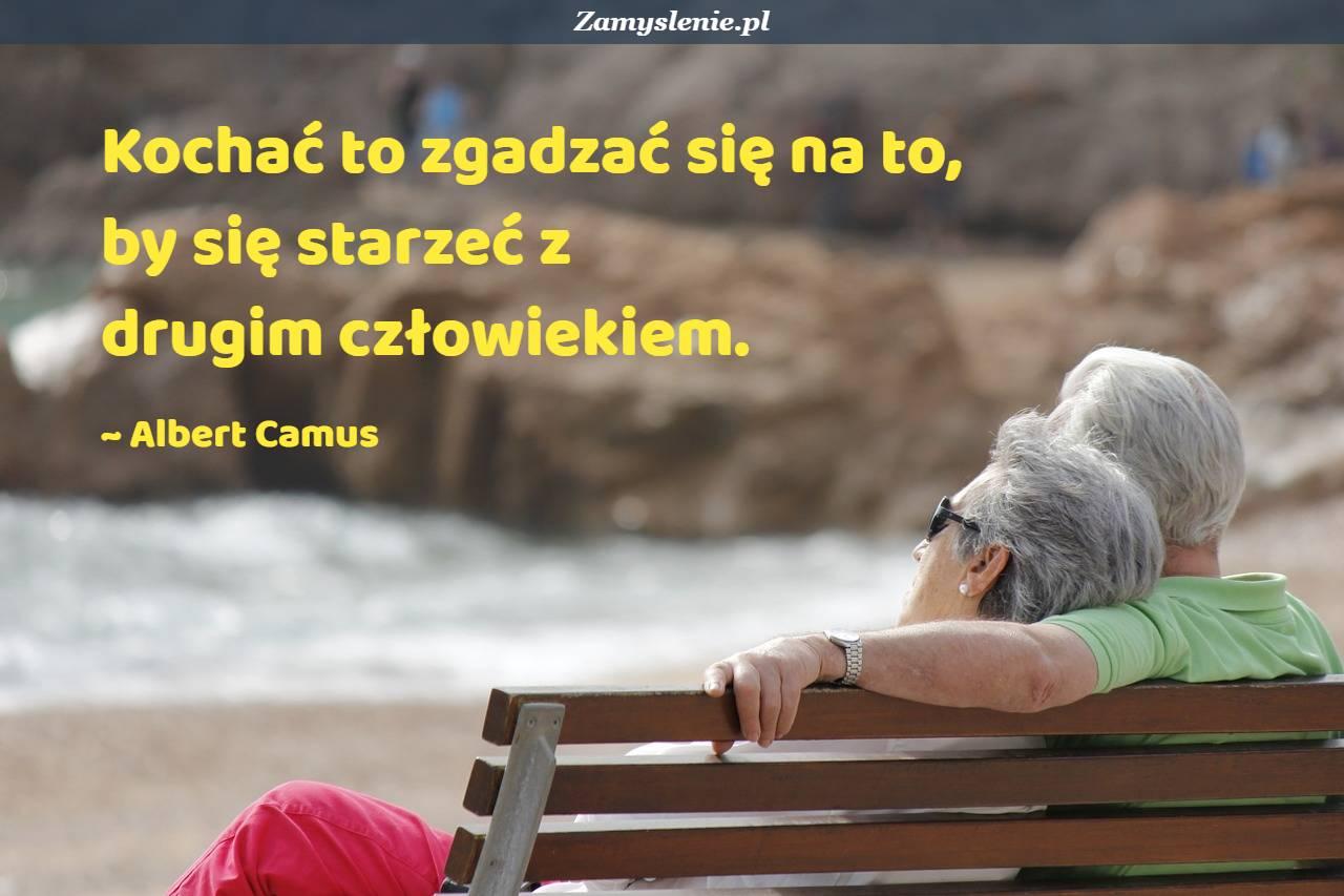 Obraz / mem do cytatu: Kochać to zgadzać się na to, by się starzeć z drugim człowiekiem.